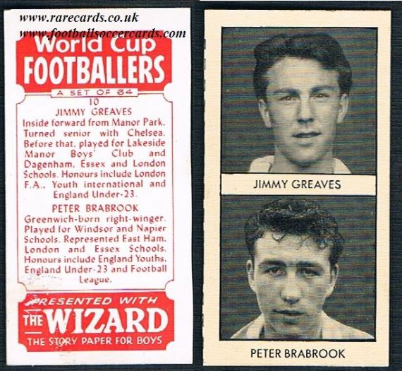 1958 Jimmy Greaves uncut Wizard rookie single